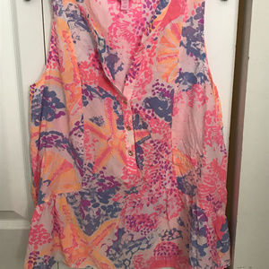 Lily Pulitzer Pink Silk Top M